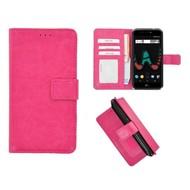 Roze Fashion Wallet Bookcase voor Wiko U Pulse Lite
