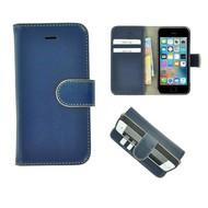 Pearlycase® iPhone 5(S)/SE Echt Leder Bookcase - Blauw