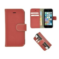 Pearlycase® iPhone 5(S)/SE Echt Leder Bookcase - Oxyderood