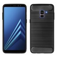 Zwart Geborsteld TPU Hoesje voor Samsung Galaxy A8 2018