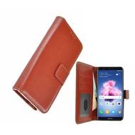 Bruin Fashion Wallet Bookcase voor Huawei P smart