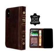 Pearlycase® Echt Leer Book Bookcase iPhone X - Antiek Donker Bruin