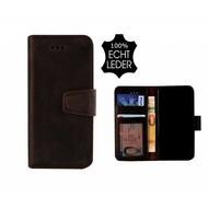 Pearlycase® Echt Leer Classic Bookcase iPhone X - Antiek Donker Bruin