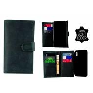 Pearlycase® Echt Leer Double Bookcase iPhone X - Antiek Turquoise