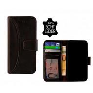 Pearlycase® Echt Leer Moon Bookcase iPhone X - Antiek Donkerbruin
