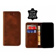 Pearlycase® Echt Leer Slim Bookcase iPhone X - Antiek Bruin