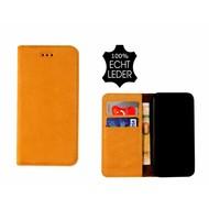 Pearlycase® Echt Leer Slim Bookcase iPhone X - Antiek Geel