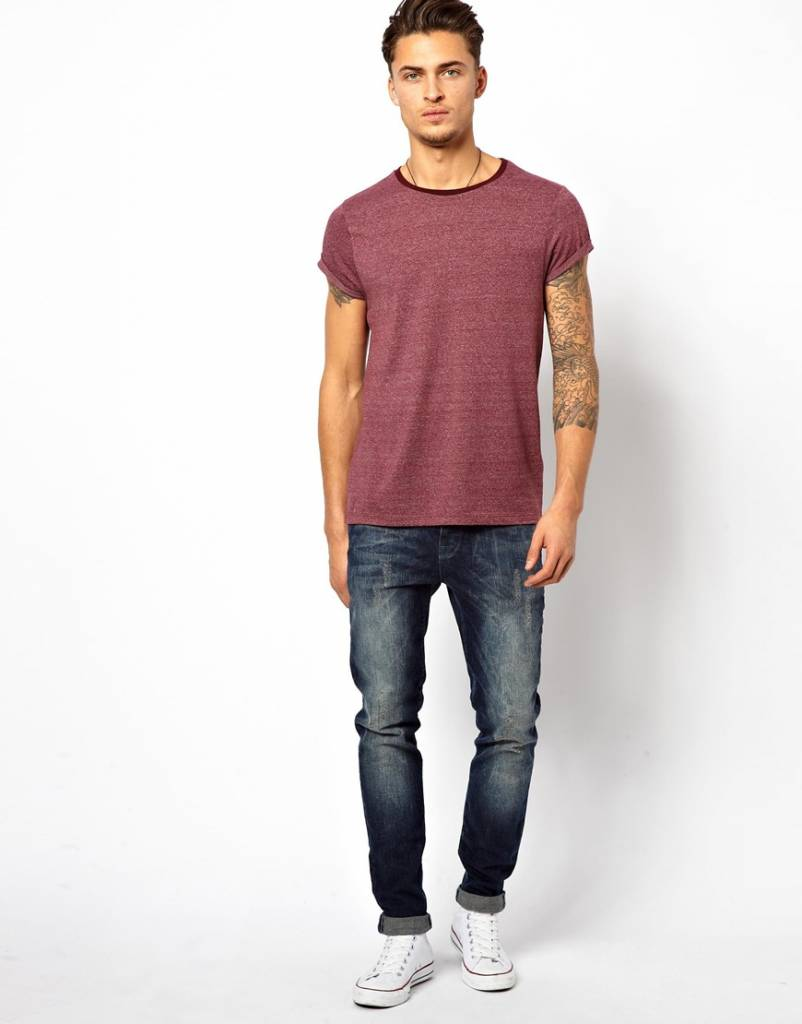 T-shirt with rolled-up sleeves