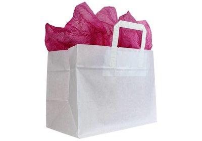Papieren lus draagtas take away bag wit