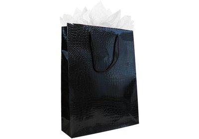Papieren koorddraagtas croco zwart