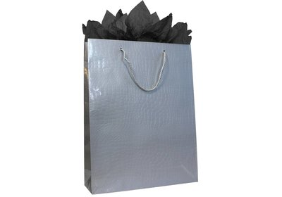 Papieren koorddraagtas croco zilver