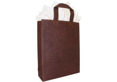Zero Tree Eco draagtas papier/abaca croco look lak bruin