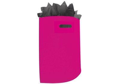 Plastic draagtas met gestanste handgreep magenta