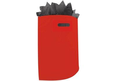 Plastic draagtas met gestanste handgreep rood