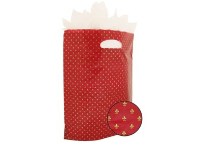Plastic draagtas met gestanste handgreep Franse lelie rood-goud