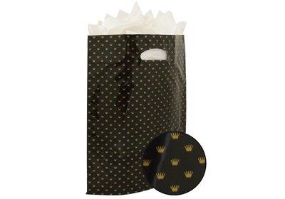 Plastic draagtas met gestanste handgreep kroon zwart-goud