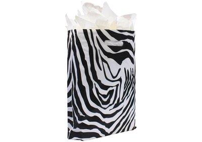 Plastic draagtas met gestanste handgreep zebra wit-zwart