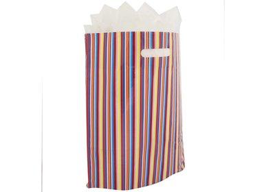 Plastic draagtas met gestanste handgreep bonte streep