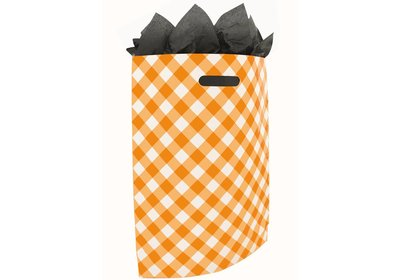 Plastic draagtas met gestanste handgreep Brabant bont oranje