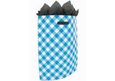 Plastic draagtas met gestanste handgreep Brabant bont blauw