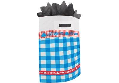 Plastic draagtas met gestanste handgreep boerenbont blauw-rood