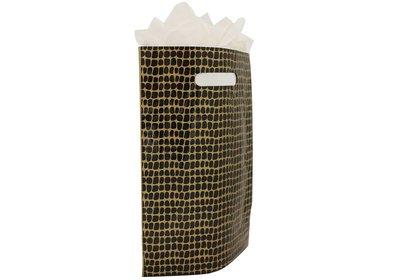 Plastic draagtas met gestanste handgreep croco zwart-goud