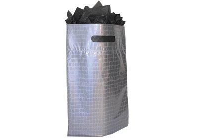 Plastic draagtas met gestanste handgreep croco zilver