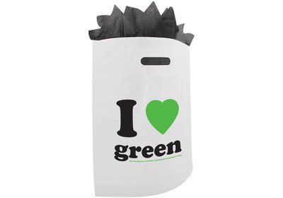 Plastic draagtas met gestanste handgreep ilovegreen wit