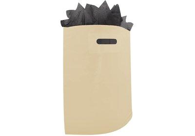 Plastic draagtas met gestanste handgreep beige