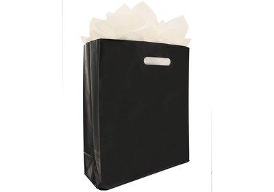 Plastic draagtas met blok bodem zwart