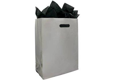 Plastic draagtas met blok bodem zilver