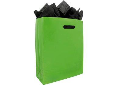 Plastic draagtas met blok bodem groen