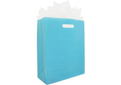 Plastic draagtas met blok bodem blauw