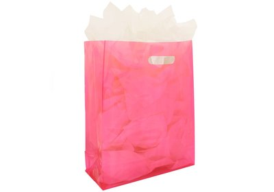 Plastic draagtas met blok bodem Fuchsia