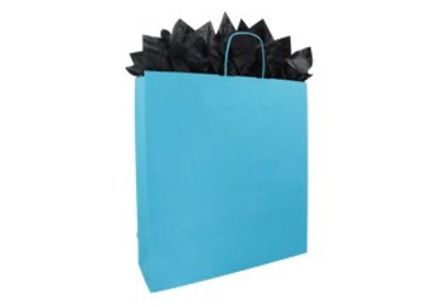 Papieren twisted draagtassen aqua blauw SALE
