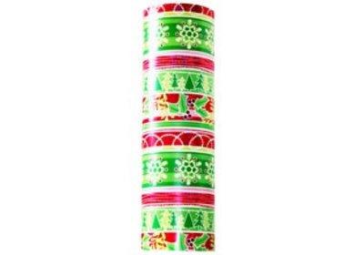 Kadopapier 50 cm 100 meter kerstmis groen met versieringen