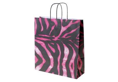 Papieren twisted draagtas Zebra Pink