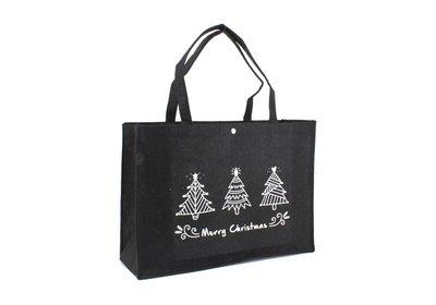 Vilt Kerst draagtas merry christmas - 3 zwart bedrukken