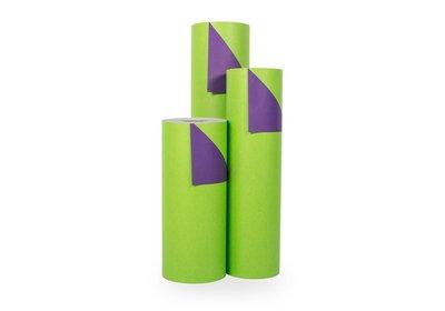 Kadopapier 30/50 cm 200 meter 2 kleuren groen/paars