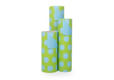 Kadopapier 30/50 cm 200 meter 2 kleuren groen/ blauwe stippen