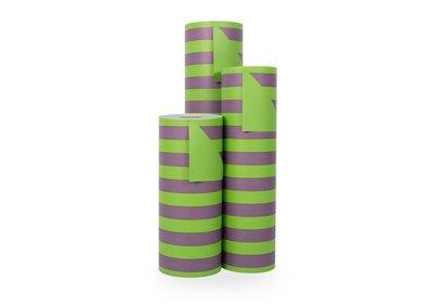 Kadopapier 30/50 cm 200 meter 2 kleuren groen/bord