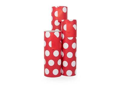 Kadopapier 30/50 cm 200 meter 2 kleuren rood/wit