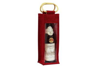 Jute wijnfles draagtas bedrukt met uw logo ca. 12 á 14 weken