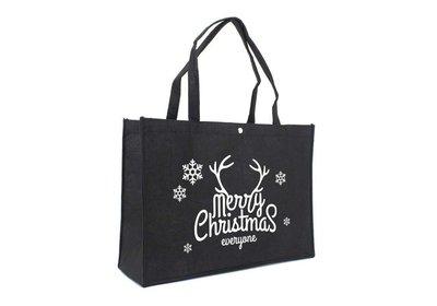 Vilt Kerst draagtas merry christmas zwart