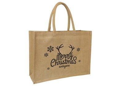 Jute Naturel Eco Kerst draagtas merry christmas