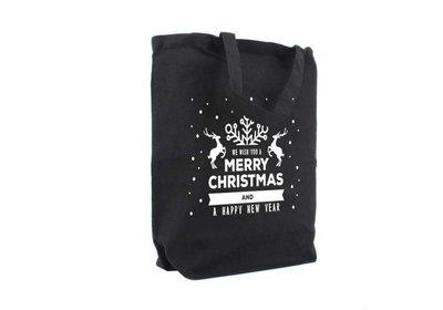 Canvas Kerst Eco draagtas best wishes zwart