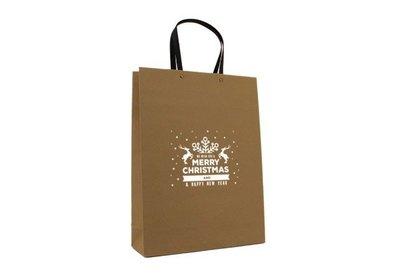 Papieren Kerst Eco draagtas best wishes bruin