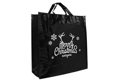PP shopper Kerst merry christmas zwart