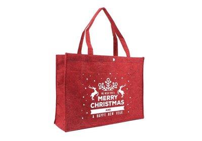 Vilt Kerst draagtas best wishes bord.rood