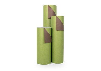 Kadopapier 30/50 cm 200 meter 2 kleuren groen/bruin
